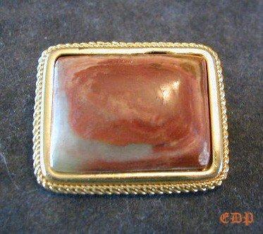 Italian AGATE Pin Brooch Italy Ornate Bezel