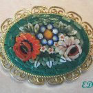 Micro MOSAIC Floral Pin Brooch Italy Flowers Filigree
