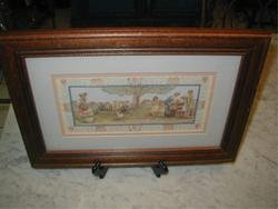 Victorian Children Playing Scissors Cut Framed Picture