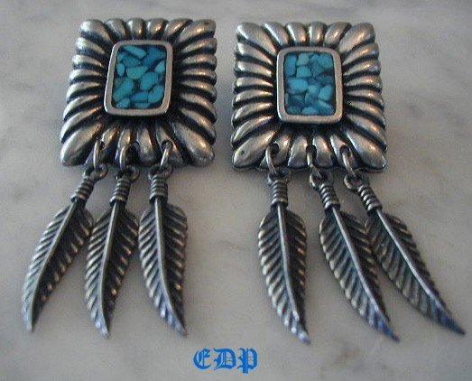 Native American Elizabeth Guerro Turquoise Earrings