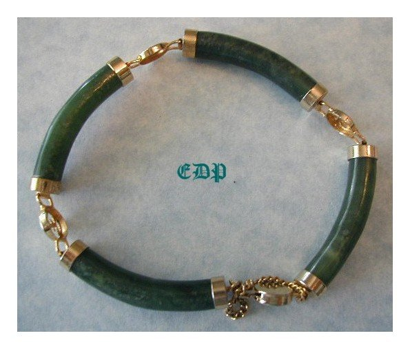 Oriental Asian Chinese Jade Bracelet w/ Safety Chain