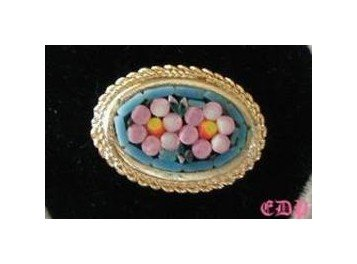 Vintage Micro MOSAIC Floral Pin Brooch Italy Florals