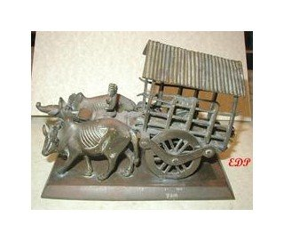 Asian Bronze Oxen Cart Temple Toy Tibet Buddhist Wagon