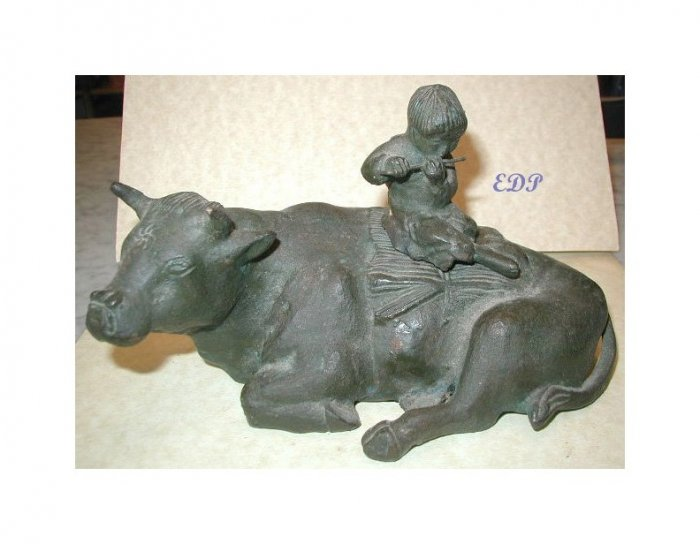 Asian Bronze Ox and Boy with Flute INKWELL Temple Toy