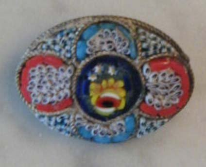 Antique Italian Micro Mosaic Floral PIN Brooch Italy
