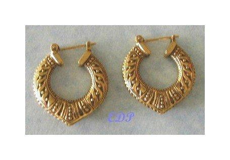 Filigree Etched Designer Hoop Earrings Pierced Gold