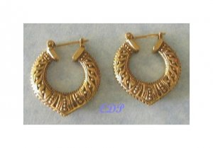 Filigree Etched Designer Hoop Earrings Pierced Gold