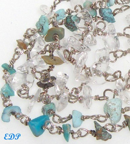 Turquoise and Quartz Bracelet Sterling Native American