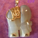 Lavendar Jade Elephant Charm Gold Accents Carved Large