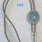 Bolo Tie  Leather Silver Turquoise Native American