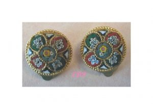 Micro Mosaic Clip Earrings Italy Florals Flowers