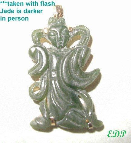 Carved JADEITE JADE Asian Lady Deity PENDANT CHARM