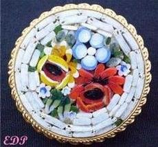 Micro Mosaic Pin Brooch Italy Florals White Flowers