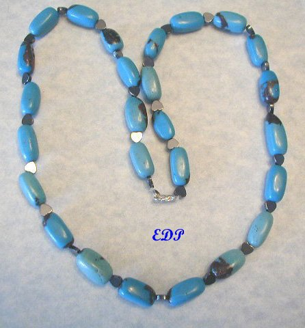 """24"""" Turquoise and Hematite Hearts Necklace Heart LARGE"""