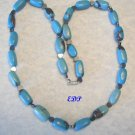 "24"" Turquoise and Hematite Hearts Necklace Heart LARGE"