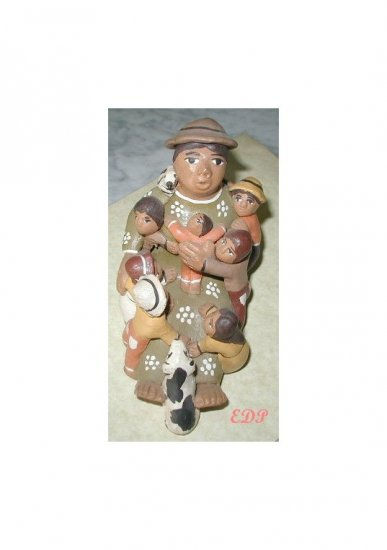 Lady w Children Baby Birds Dog Folkart Pottery