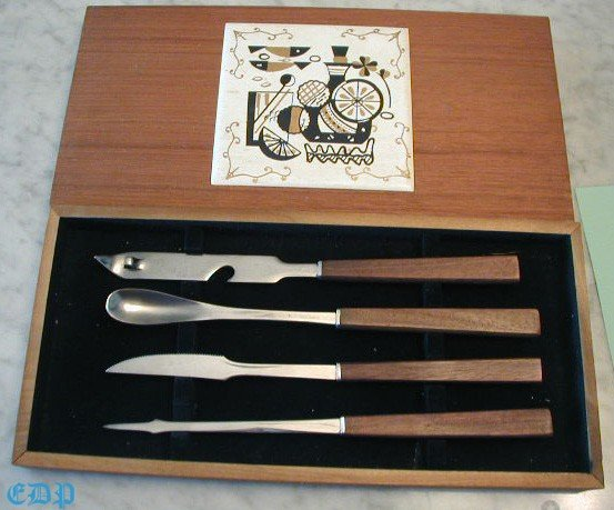 Vintage Barware Bar Tools w Tile Cutting Board Box Set