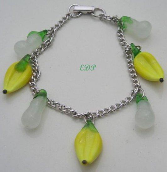 Italian Murano Art Glass Fruit Sterling Charm Bracelet