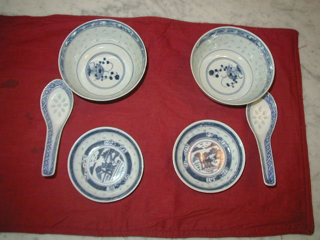 Asian 6 Pc. Chinese Rice Grain Porcelain Soup Set