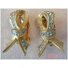 DeNICOLA De NICOLA Golden Bow Clip Earrings Rhinestones