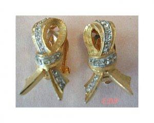 DeNICOLA De NICOLA Golden Bow Clip Earrings Rhinestones