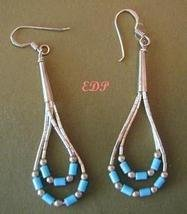 Native American Liquid Silver Turquoise Dangle Earrings