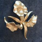 Designer Marcel Boucher Orchid Brooch Pin w Pearl