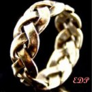 Sterling Band Ring Sz 6 Italy Unisex Open Braid Wide