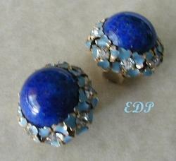 KAFIN of NY Lapis Enamel Rhinestone Clip Earrings