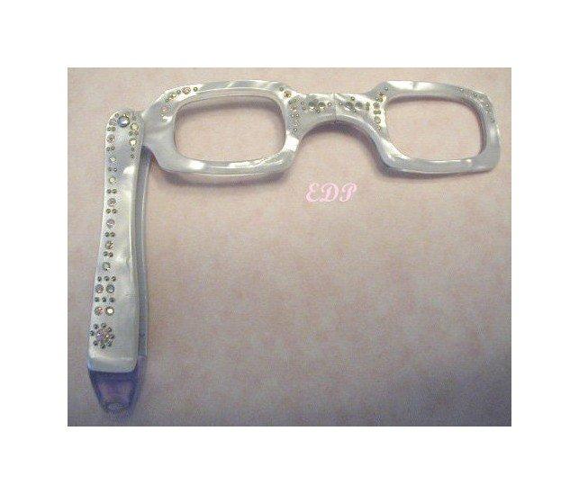 Vintage Pearlescent Lorgnette Folding Eyeglass Frame