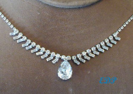 Bling Rhinestone Eternity Necklace Pear Drop Adjustable