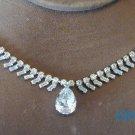 Bling Rhinestone Eternity Necklace Pear Drop Adjustable