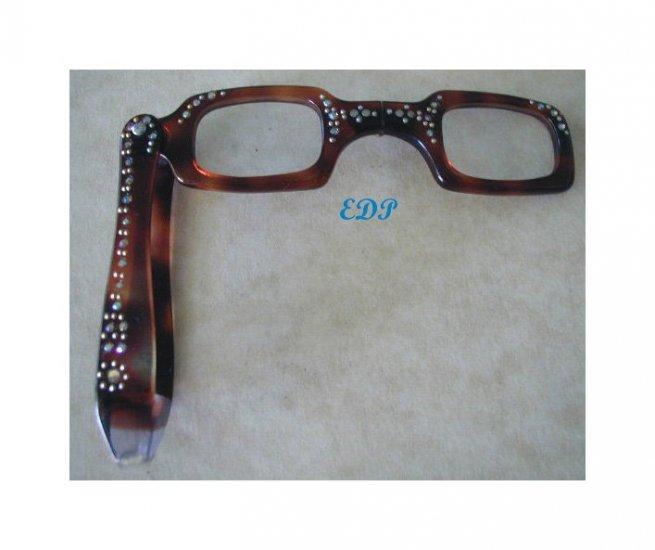 Vintage Tortoise Lorgnette Folding Eyeglasses Magnified