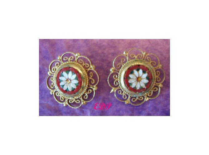Antique Micro Mosaic Daisy Clip Earrings Forget-me-not