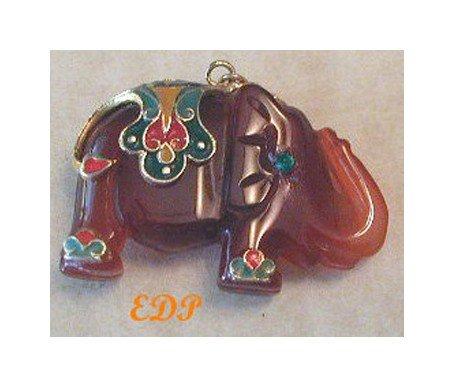 Carnelian Elephant Cloisonne Pendant Charm Enamel