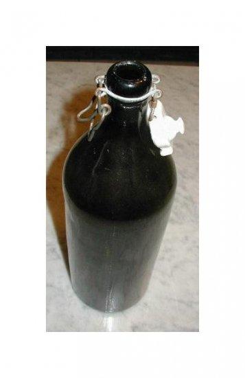 1900s Green Glass 1.5 Liter Bottle Porcelain Top Barware
