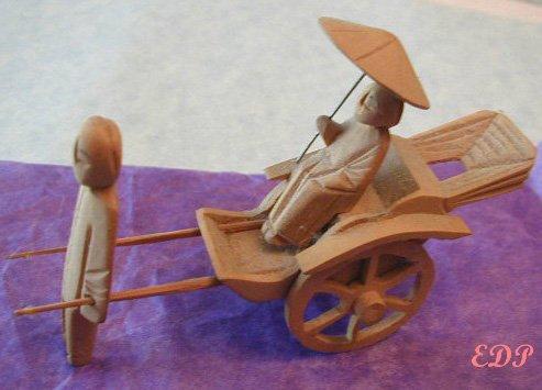 Old Handmade Carved Wood Rickshaw Coolie Umbrella Lady