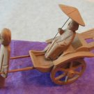 Old Handmade Carved Wood Rickshaw Coolie Umbrella Lady