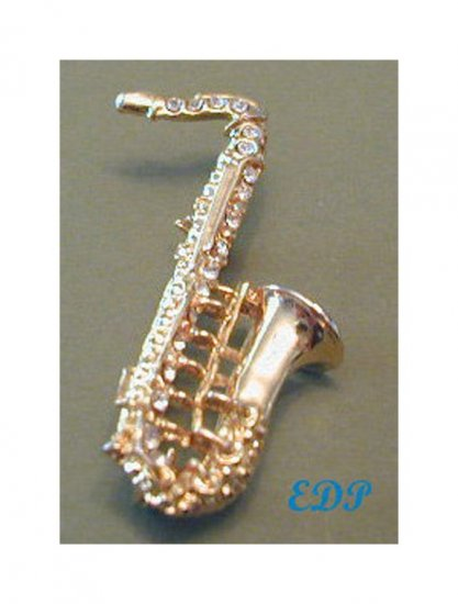 Gold Tone Metal Jeweled Rhinestone Saxophone Pin Brooch