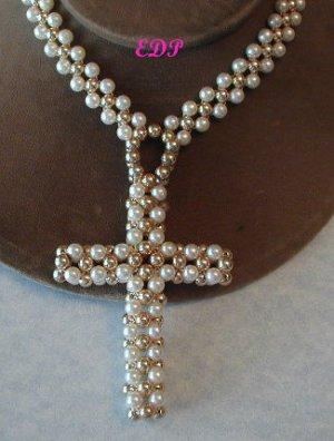 "24"" Handmade Cross Necklace Faux Pearl Pearls Large"
