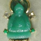 Faux Jade Rhinestone BUDDHA Pin Brooch Asian Oriental