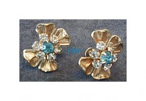 Aqua and Clear Rhinestone Screwback Earrings Bling