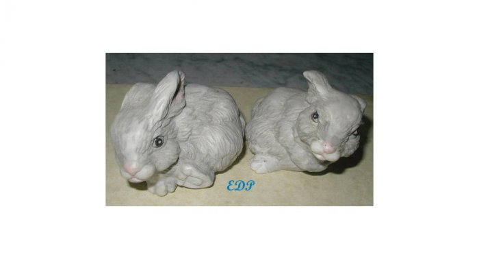 2 Bunnies Rabbits Hand Painted Bunny Collectible