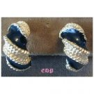 Gay Boyer Black Enamel Twisted Gold Clip Earrings