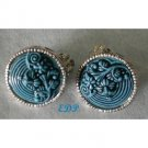 Cinnabar look Turquoise Blue Clip Earrings Raised Details