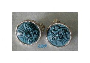 Cinnabar look Turquoise Blue Clip Earrings Raised Details
