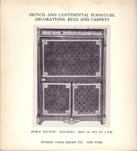 5.18.1974 Sotheby Auction Catalog French Furniture Rugs