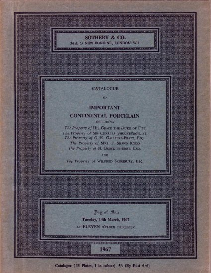 1967 Sotheby Auction Catalog Continental Porcelain
