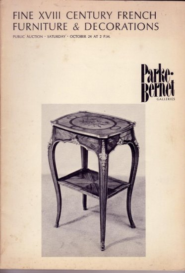 1970 Sotheby Auction Catalog 18C French Furniture