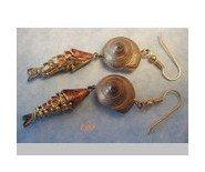 Vintage Enamel Articulated Fish Koi & Snail Earrings